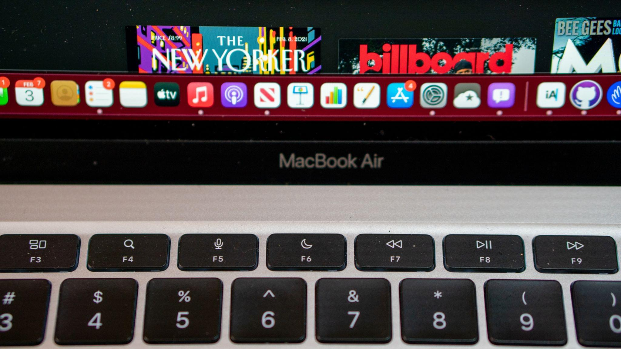 The Air adds Spotlight, Dictation and Siri, and Do Not Disturb function keys.