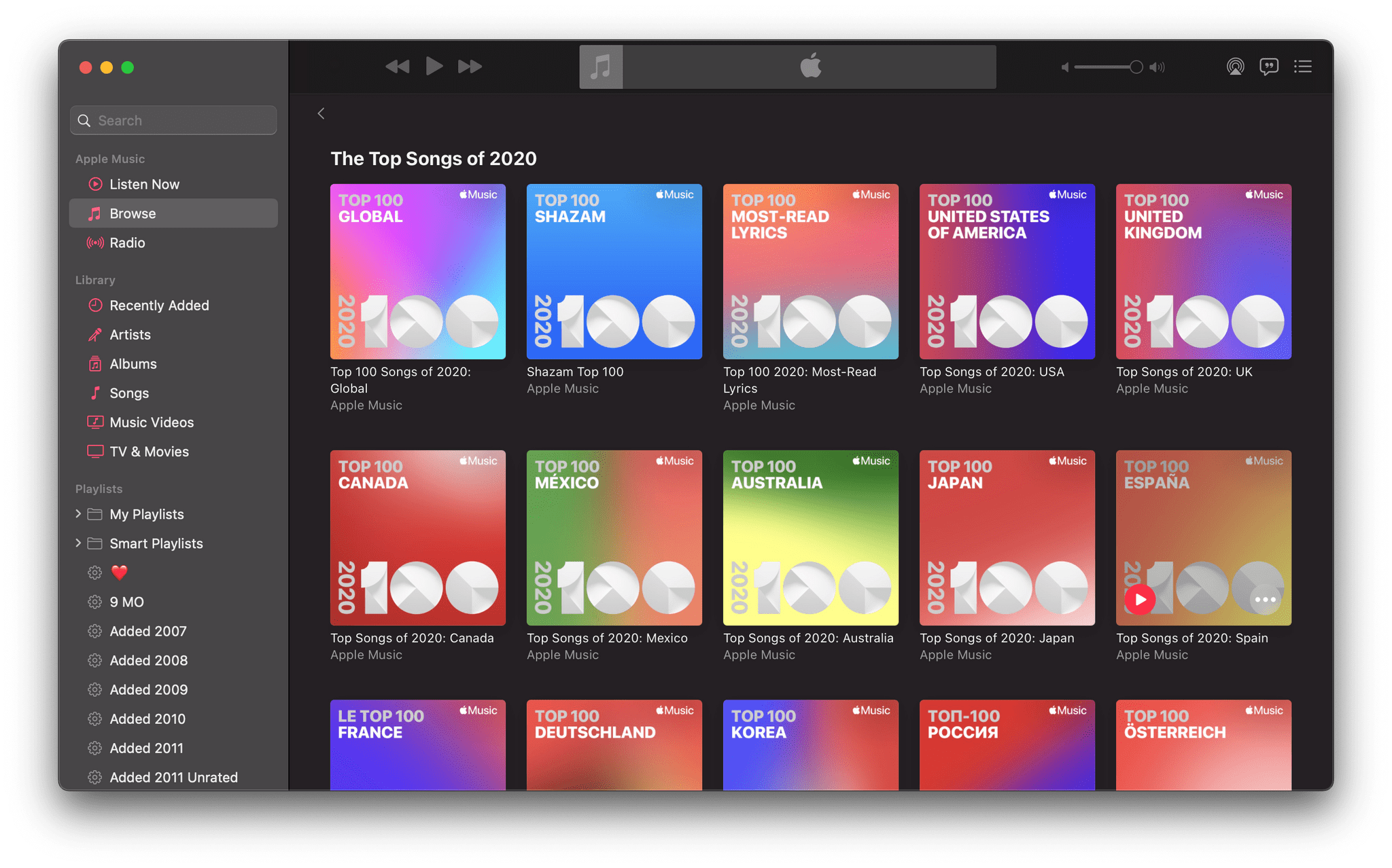 Apple's many Top 100 playlists.