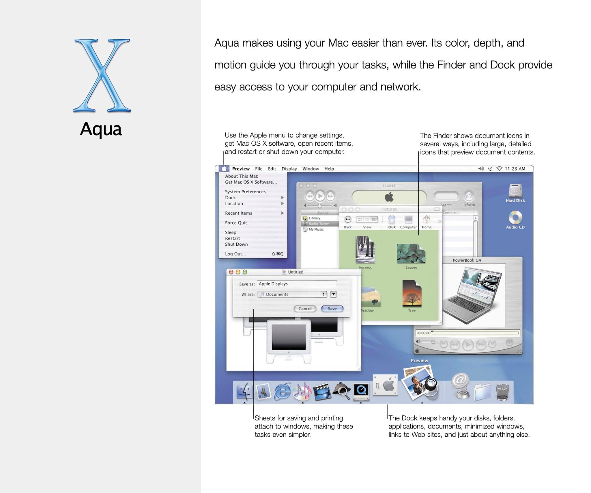 A tour of Aqua from OS X's user manual.