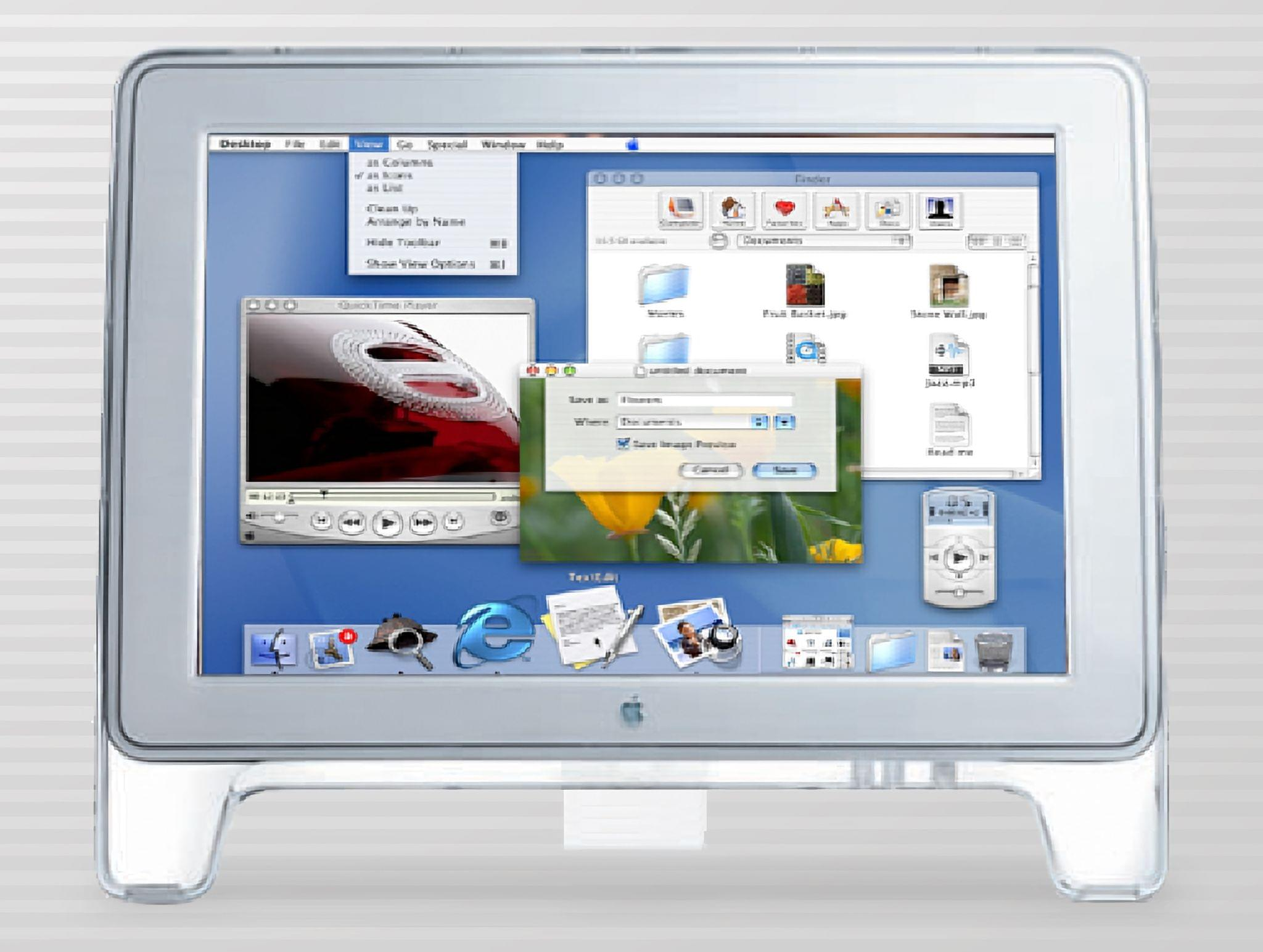 OS X's Aqua UI on an Apple Cinema Display.