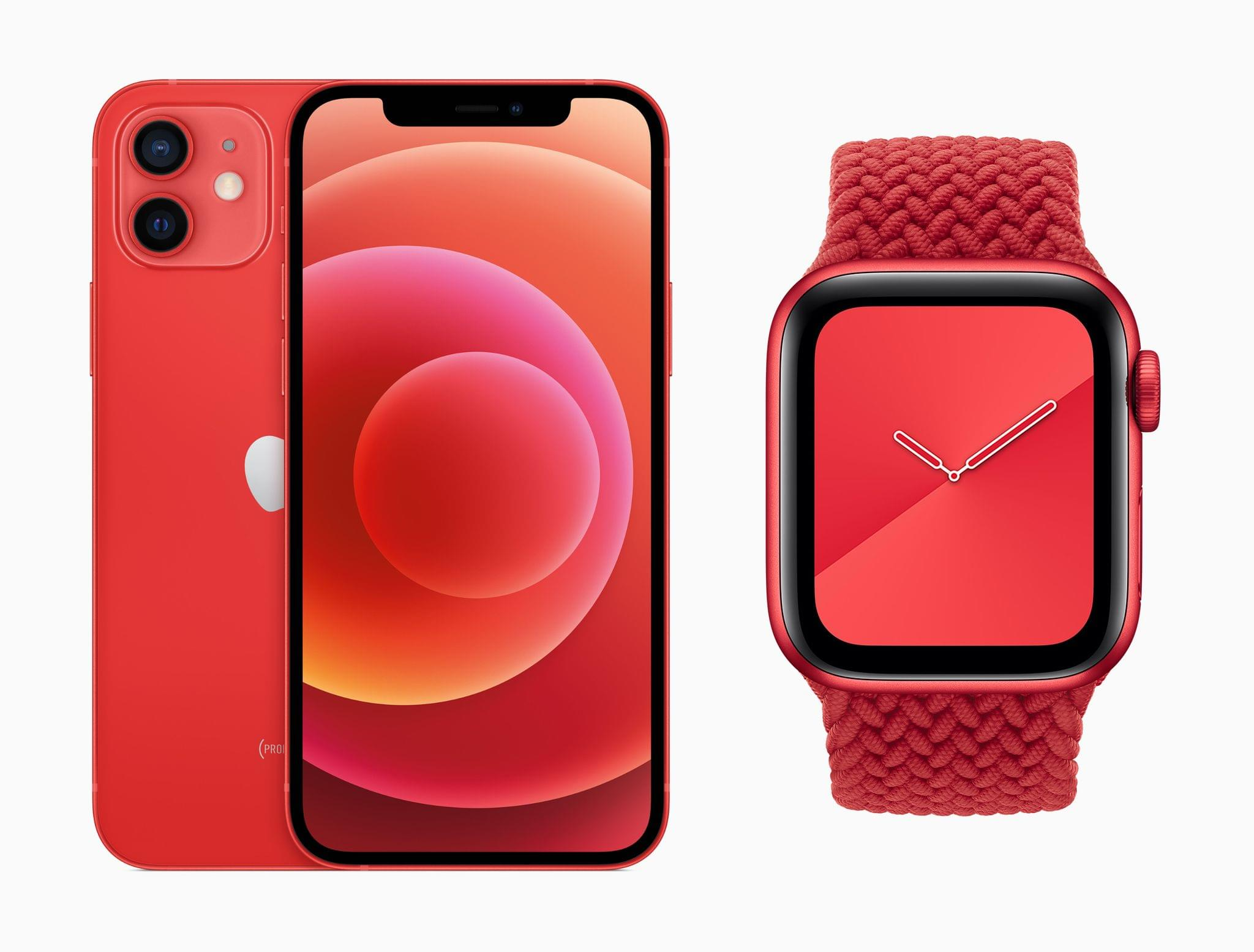 The PRODUCT(RED) iPhone 12 and Apple Watch Series 6.